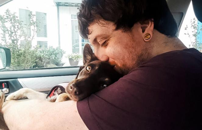 Magnolia the dog snuggling into Matt's arms while inside a car