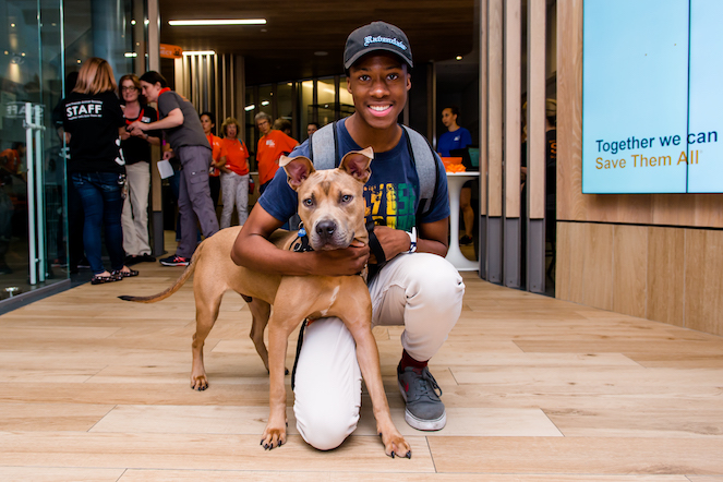 Young man with his adopted dog