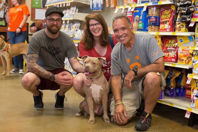 Porkchop the dog with Peter and family