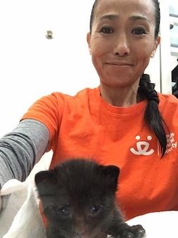 Hiromi Nobata with kitten